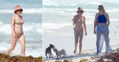 rose mcgowan hits the beach in mexico with friend