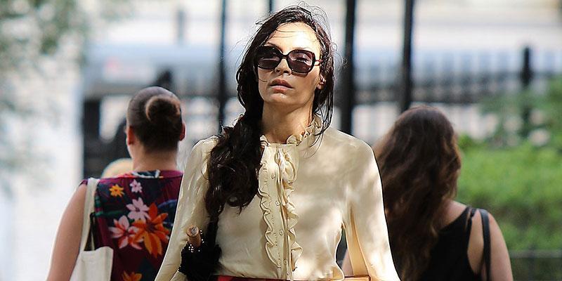 Famke janssen wears floral miniskirt running errands main