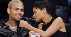 Rihanna and Chris Brown at Lakers v Knicks game at the Staples Center, Los Angeles, California