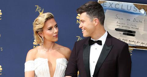 """Scarlett Johansson and Colin Jost Married """"save The Date"""" invite"""
