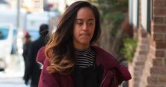 Malia Obama Internship NYC Maroon Coat Long
