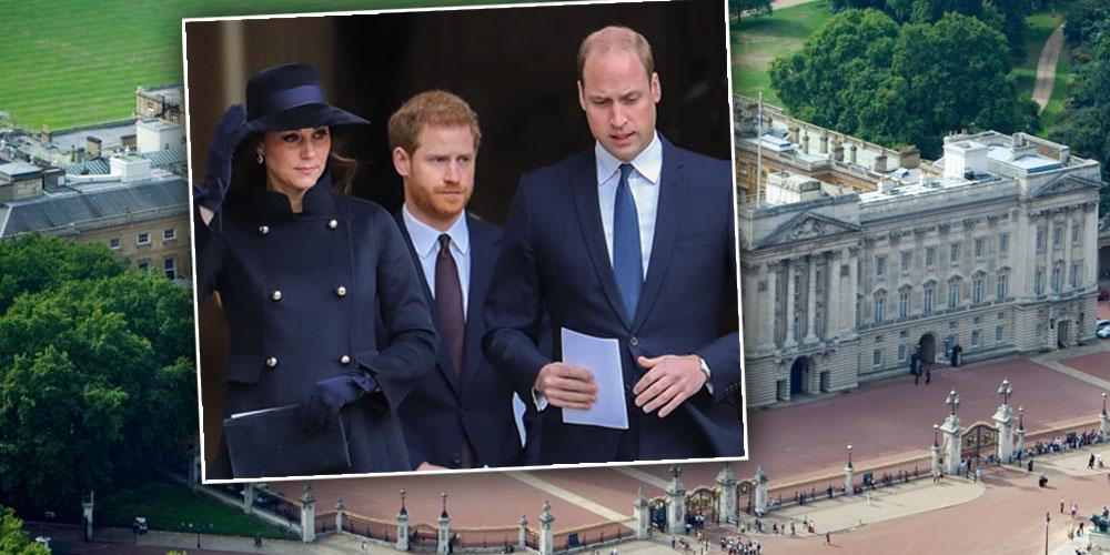 Inset of Kate, Prince Harry, Prince William; Buckingham Palalce: Buckingham Royal Staffer Pleads Guilty To Theft, Sold Stolen Goods For Thousands