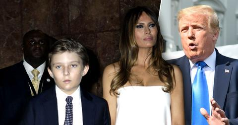 Barron Trump with Melania Trump; Donald Trump