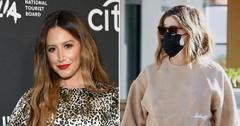 pregnant ashley tisdale keeps it safe grabbing lunch coffee pf
