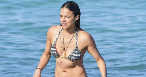 Michelle Rodriguez and Mohammed Al Turki enjoy the beach of CLUB 55 in St Tropez