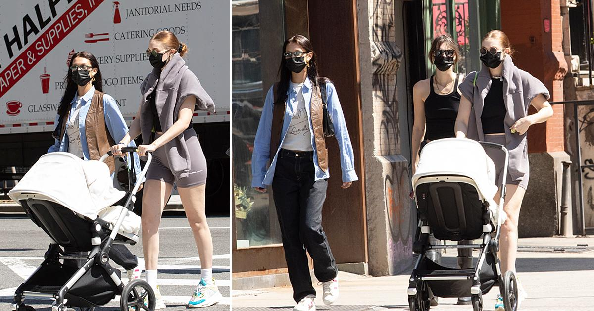gigi hadid and bella hadid take baby khai for a walk