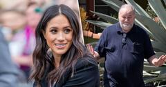 Meghan Markle next to photo of Thomas Markle Sr.
