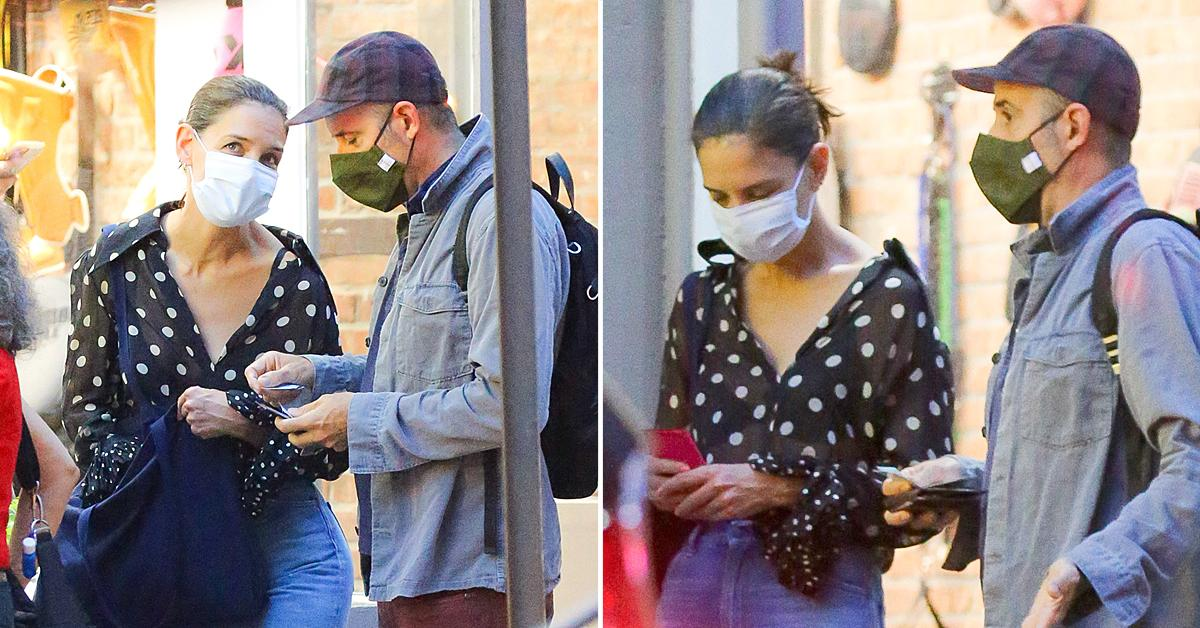 katie holmes spotted with mystery man in nyc before heading to the theatre
