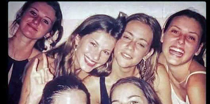 Gisele Bundchen poses with girlfriends on a visit to her hometown, Horizontina in Brazil, in the late 1990s.