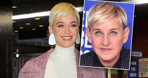 Blonde Katy Perry Defends Ellen Degeneres, Inset of Ellen Degeneres