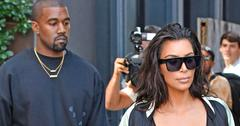 Kim Kardashian wears a see through bustier corset showing her cleavage while out with Kanye West in New York City
