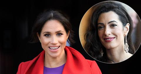 Meghan Markle In Red Coat Amal Clooney Inset