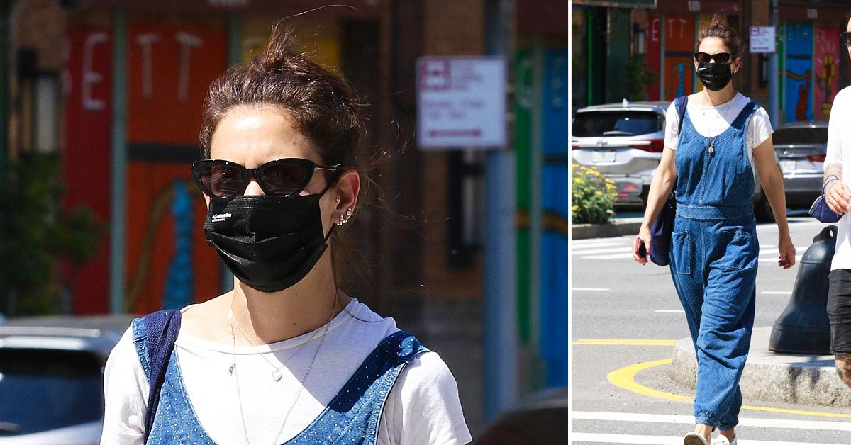 katie holmes steps out in blue overalls in  degree weather in nyc ok
