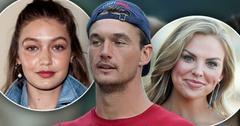 Inset Gigi Hadid Wearing Denim Jacket, Tyler Cameron Wearing Red Shirt And Backwards Baseball Cap, Inset Smiling Hannah Brown