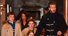 David Beckham takes his kids to Victoria's fashion show