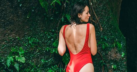woman in red swimsuit