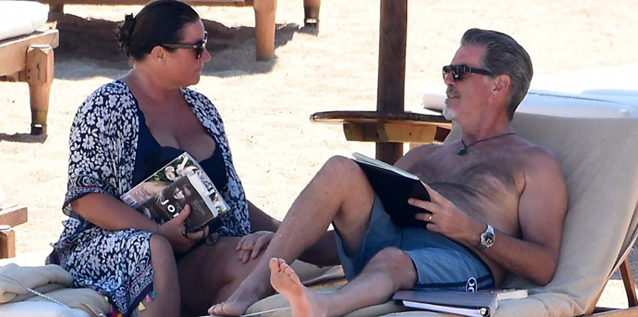 Pierce Brosnan and wife Keely Shaye hit the beach on vacation in Italy