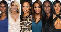 Basketball Wives cast members Shaunie O'Neal, Evelyn Lozada, Tami Roman, Jennifer Williams, Jackie Christie, Malaysia Pargo