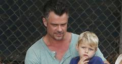 Josh duhamel shows off washboard abs with son main