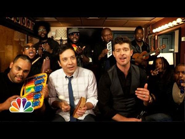Robin Thicke with Jimmy Fallon and The Roots