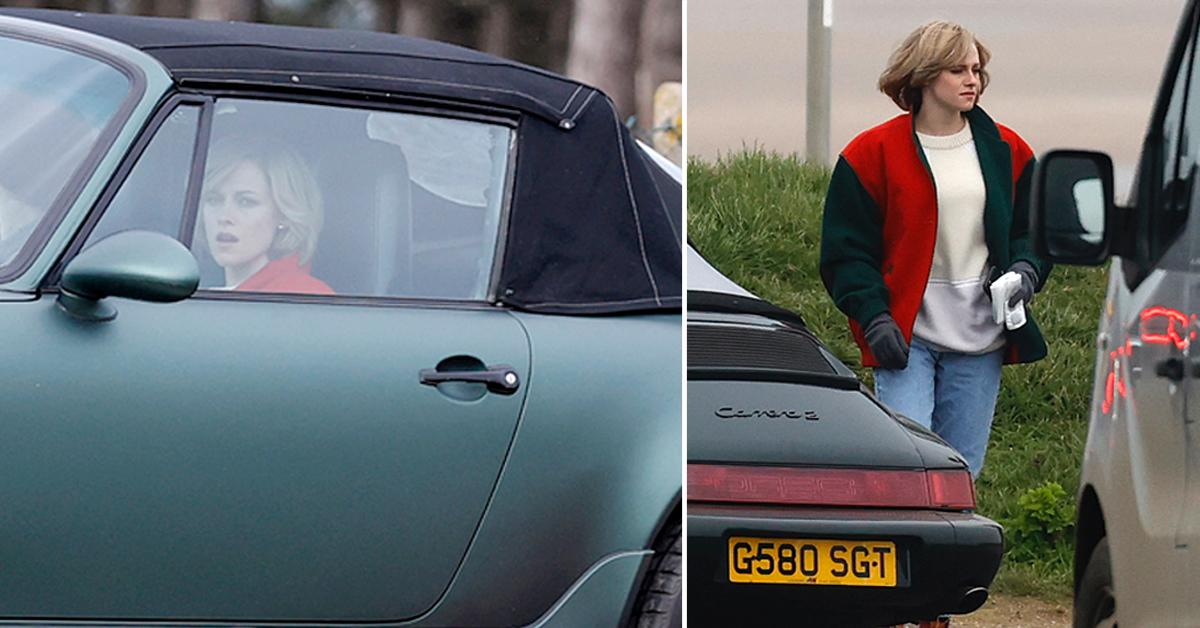kristen stewart in character as princess diana on the set of new film