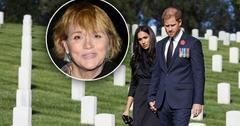 Inset of Smantha Markle, Meghan Markle and Prince Harry on Remembrance Day at LA Cemetary