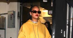 Rihanna Steps Out In Gold Dress For Dinner With ASAP Rocky