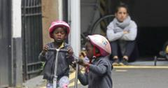 *EXCLUSIVE* Madonna's twins Stelle & Estere Ciccone show off their scooter skills in London