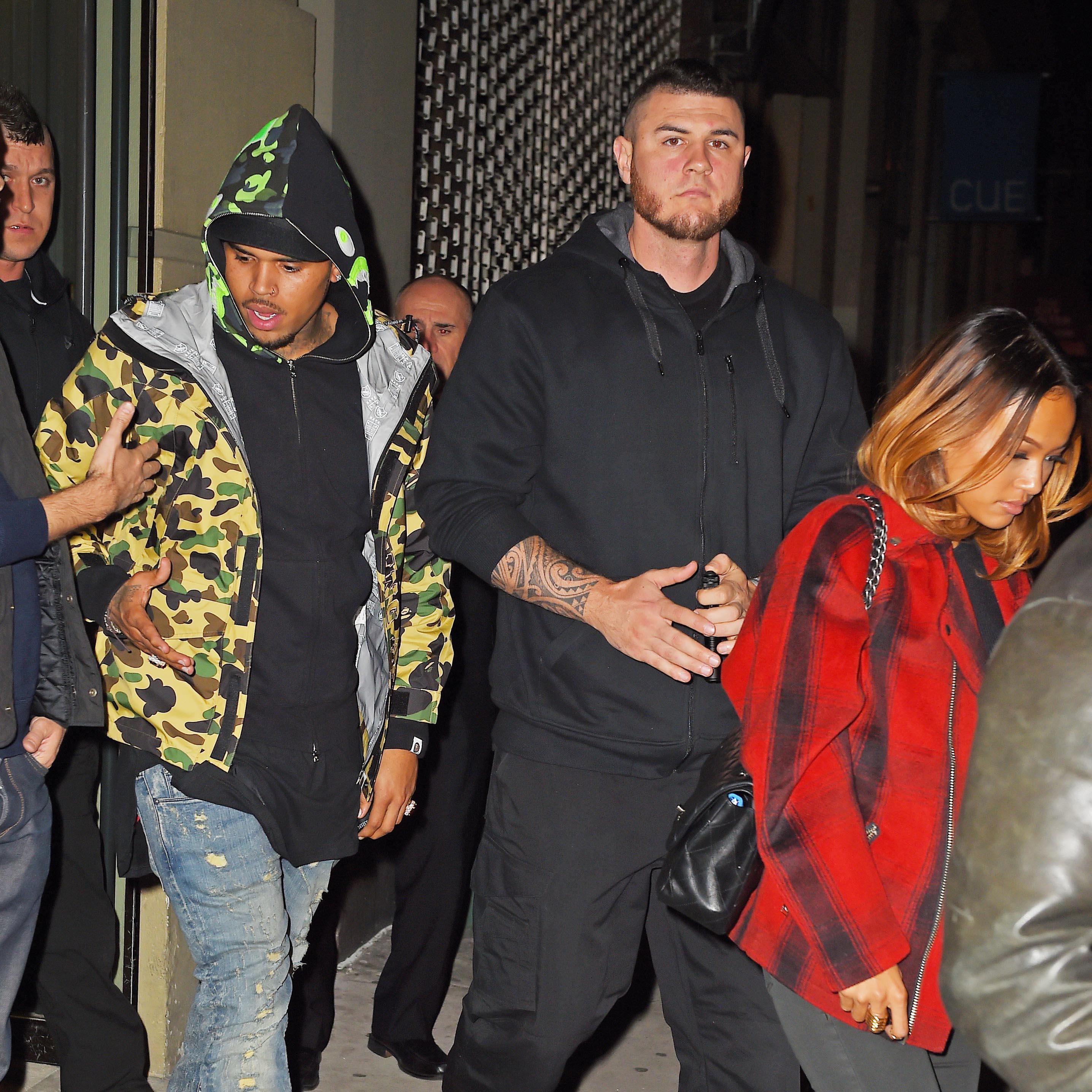 Chris Brown and girlfriend Karrueche Tran seen leaving an art gallery in Chelsea