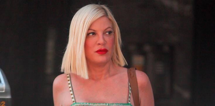 *EXCLUSIVE* Tori Spelling channels cowgirl vibes as she leaves a business meeting