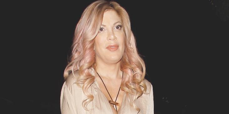 Actress Tori Spelling is seen walking into The Abbey lounge to film a reality show