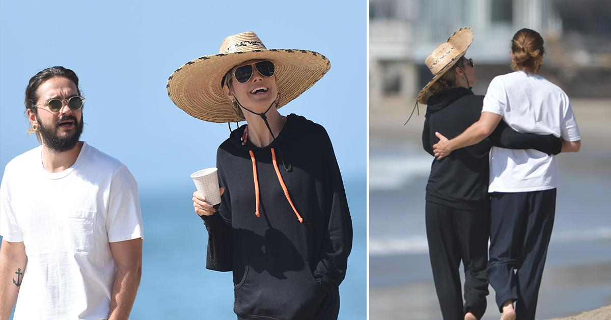 heidi klum and tom kaulitz enjoy a romantic walk on the beach