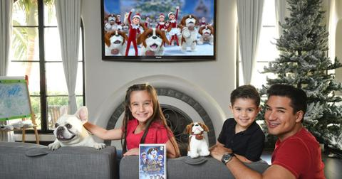 Mario Lopez and his kids Watching The Elf on the Shelf`s new Elf Pets Animated Special