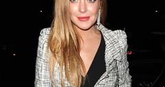 Lindsay Lohan arriving for a private dinner at Morton's Club in Mayfair