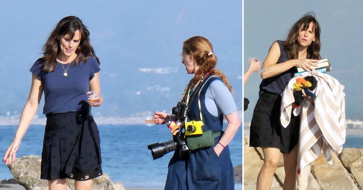 jennifer garner masters multitasking during photoshoot on the beach in santa barbara okf