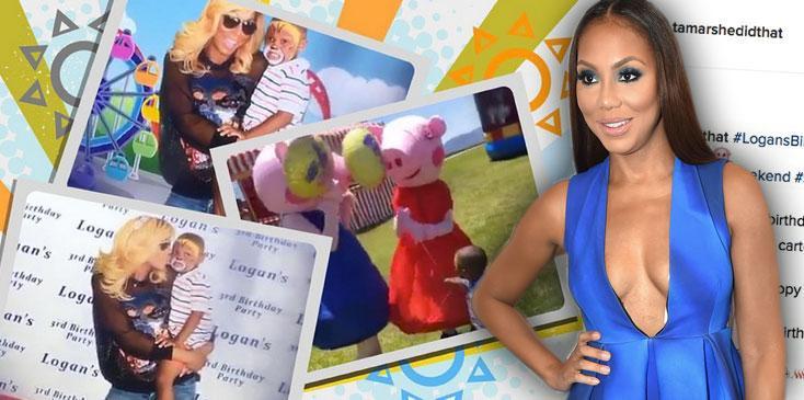 Tamar Braxton Looks Happy Logan Birthday Party