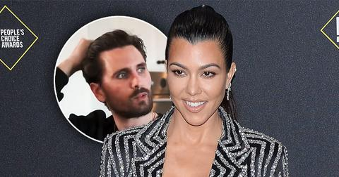 circle inset of Scott Disick, Kourtney Kardashian in sparkle striped Blazer