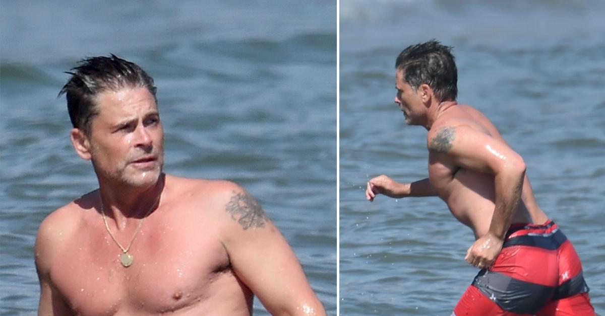 rob lowe and son at the beach on easter weekend
