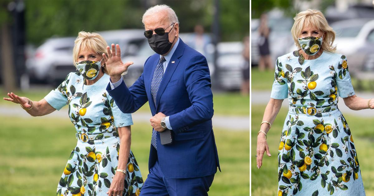 jill biden wearing lemon dress boarding marine one with president joe biden ok