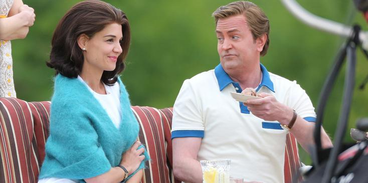 Katie Holmes film scenes with Matthew Perry for The Kennedy After Camelot filming in Toronto.