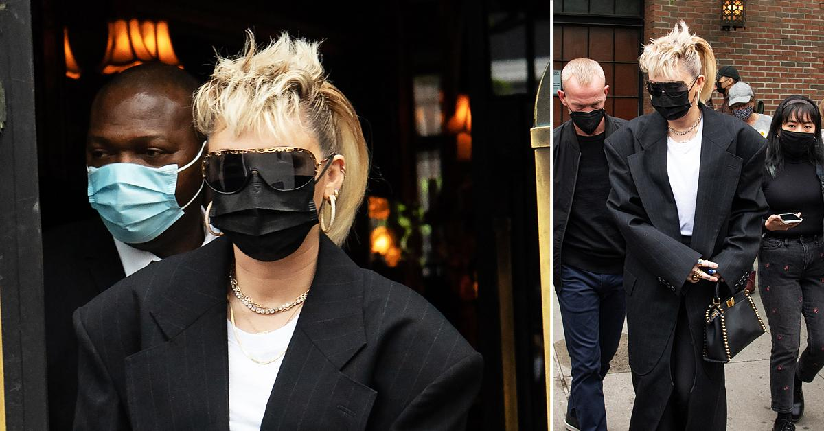 miley cyrus all black outfit in nyc bowery hotel