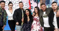 Jersey shore cast members at red carpet posing for photo