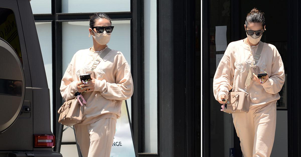shay mitchell beis sweatsuit exclusive beige pvolve fitness