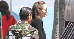 *EXCLUSIVE* Angelina Jolie takes her son Pax to lunch at Mastro's Ocean Club