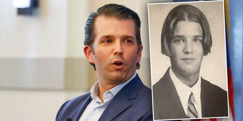 Donald Trump Jr. inset of yearbook photo from The Hill School Pottstown PA