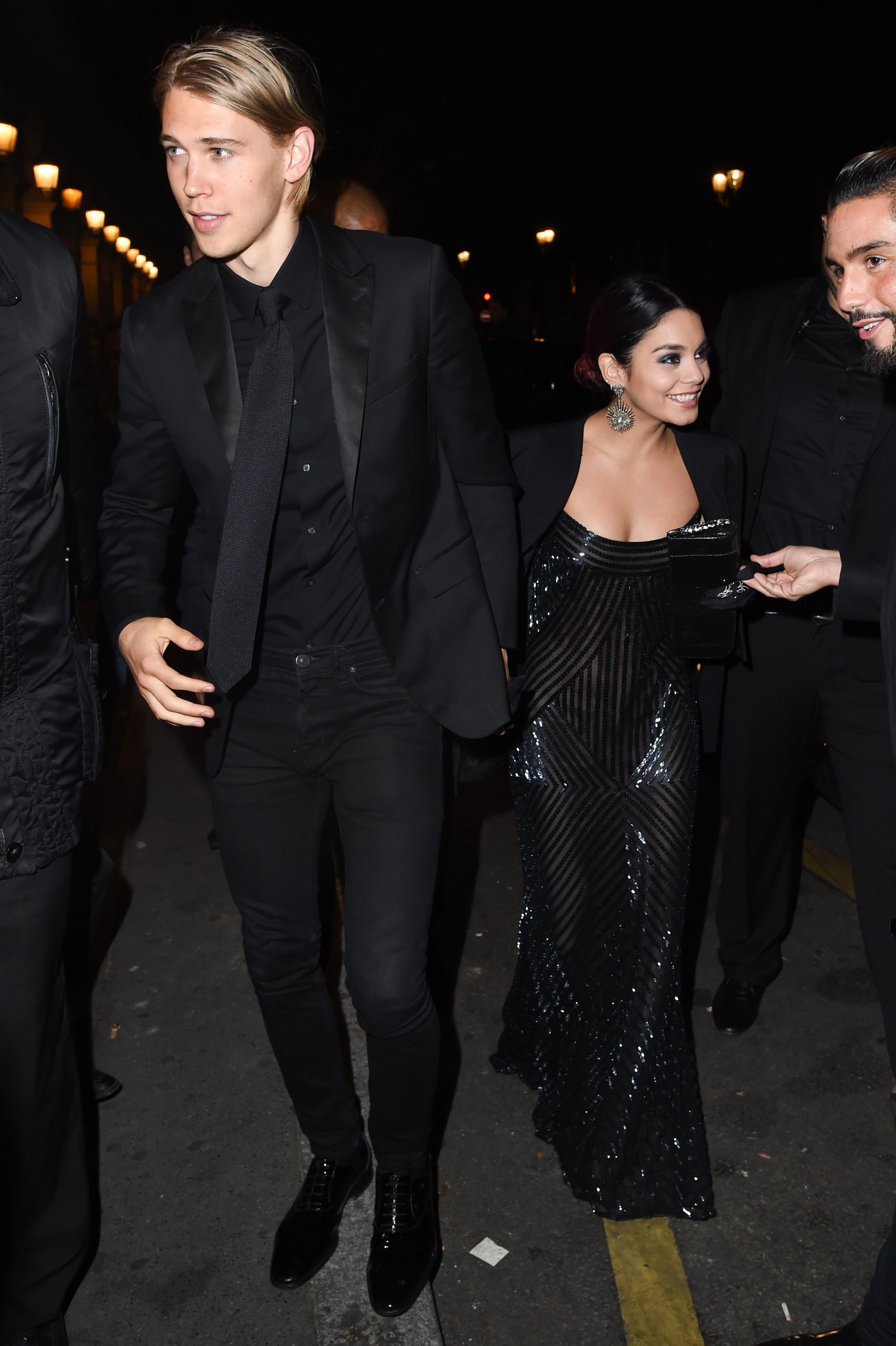 Vanessa Hudgens and Austin Butler seen at the VIP Room in Paris