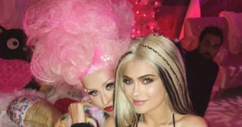 Kylie jenner christina aguilera kiss birthday party halloween costume hero