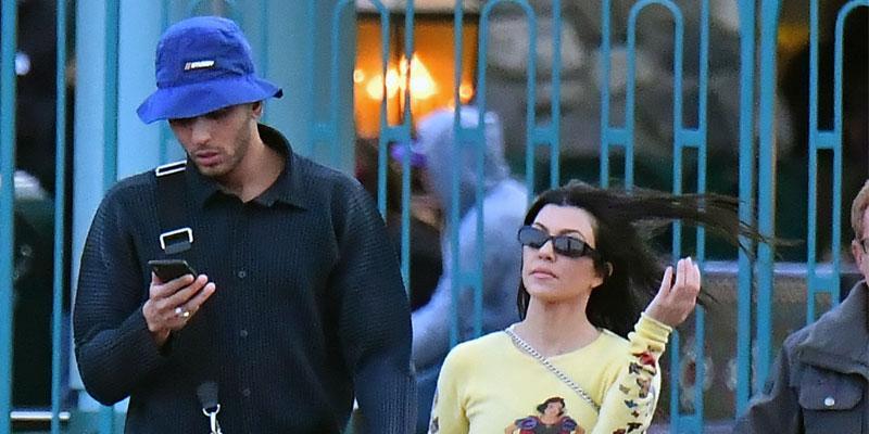 Kourtney Kardashian & Ex Younes Bendijma Travel To Disneyland