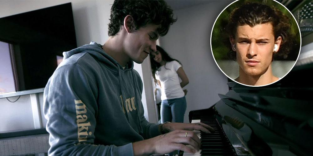 "Shawn Mendes playing piano with Camila Cabello in the backgrounf for the Netflix Doc, ""shawn Mendes: In Wonder, Inset of Shawn Mendes"