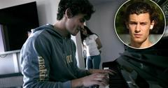"""Shawn Mendes playing piano with Camila Cabello in the backgrounf for the Netflix Doc, """"shawn Mendes: In Wonder, Inset of Shawn Mendes"""
